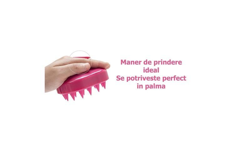Image of Perie anti-matreata, pentru masaj scalp si stimularea cresterii parului , EGGO Skin, din silicon, pentru toate tipurile de par, pentru copii, femei, barbati, animale,Roz/ Bubblegum Pink