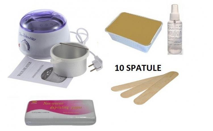 Kit Epilare Cu Ceara Traditionala: Incalzitor Prowax + Ulei + Hartie + Spatule, La 99 Ron In Loc De 199 Ron