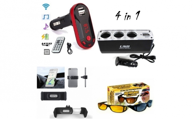 Pachet Auto : Modulator FM mp3 player bluetooth cu incarcator pentru diverse dispozitive incorporat + priza bricheta tripla si USB incorporat + 2 x Ochelari Hd Vision + Suport auto