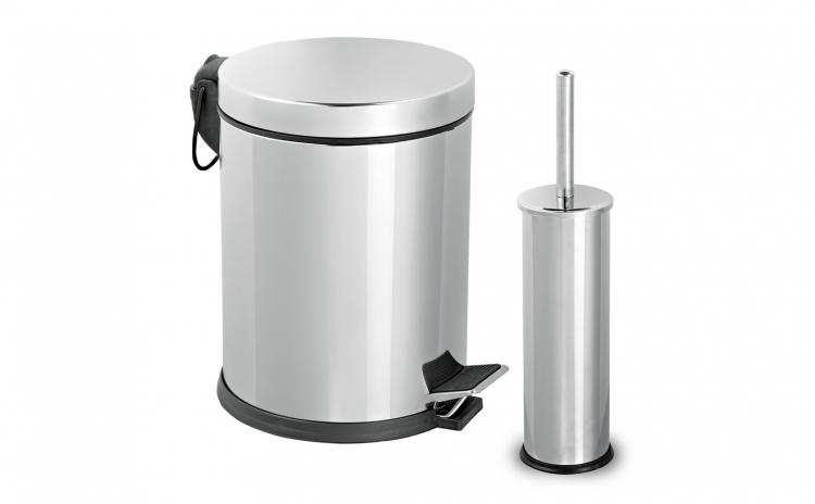 Set baie: cos gunoi 5 L+ perie toaleta