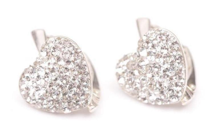 Cercei Heart Ceralun, Cristal, Argint