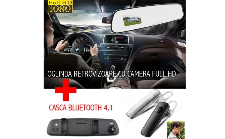 Camera auto Full HD + Casca Bluetooth