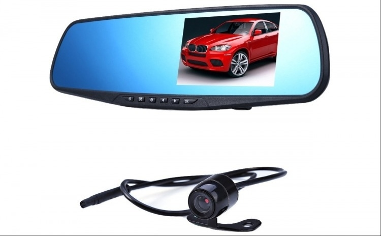 Camera auto DVR, incorporata in oglinda retrovizoare, dubla fata/spate, Full HD, senzor G