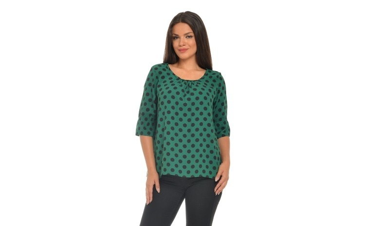 Bluza Dama verde cu Buline negre