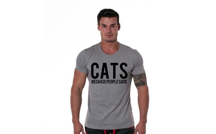 Tricou gri barbati - Cats la doar 65 RON in loc de 130 RON