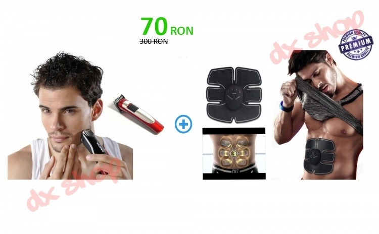 Set Aparat electric EMS smart fitness si aparat de tuns Nova