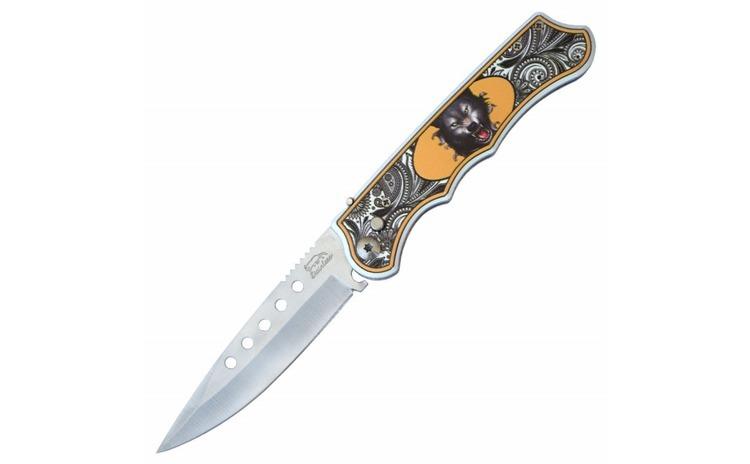 Cutit briceag 24 cm, model Angry Wolf cu