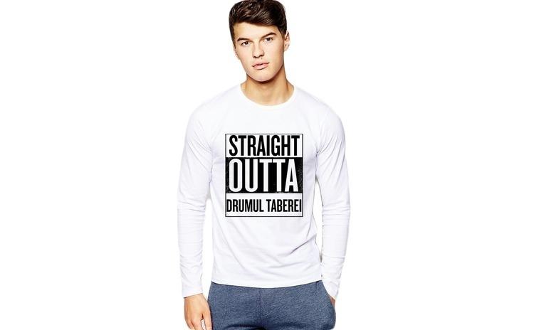 Bluza barbati alba - Straight Outta Drumul Taberei