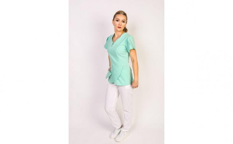 Costum medical dama, anchior verde-alb