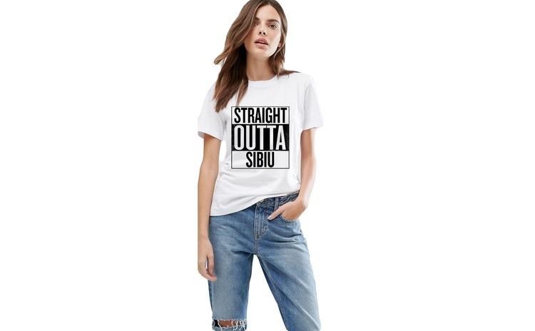 Tricou dama alb -  Straight Outta Sibiu