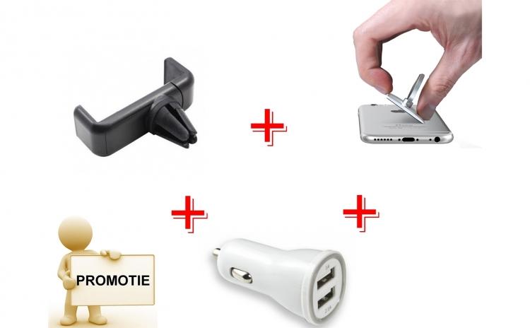 Incarcator dublu USB + suport telefon