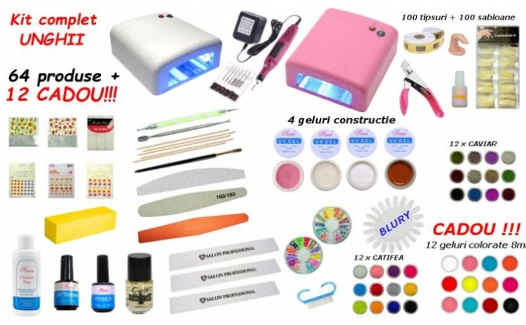 Kit Complet Aplicare Unghii Cu Gel 64 Produse 12 Geluri