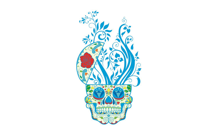 Sticker decorativ, Skull, 90 cm,