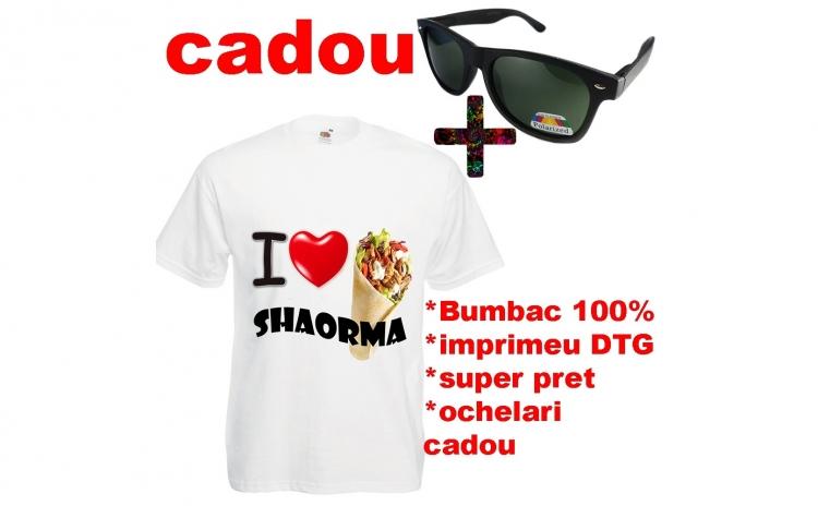 Tricou I LOVE SHAORMA + ochelari CADOU