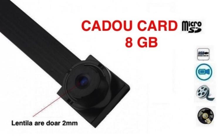 Microcamera spion lentila 2mm, urmarire live + cadou card de memorie 8GB, la 199 RON de la 399 RON, Vezi Video
