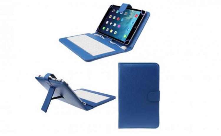 Imagine indisponibila pentru Husa tableta 7 inch cu tastatura micro Usb,model X, albastru, tip mapa, prindere 4 cleme, protectie antisoc, compatibil Android si Windows C105, la doar 40 RON in loc de 85 RON