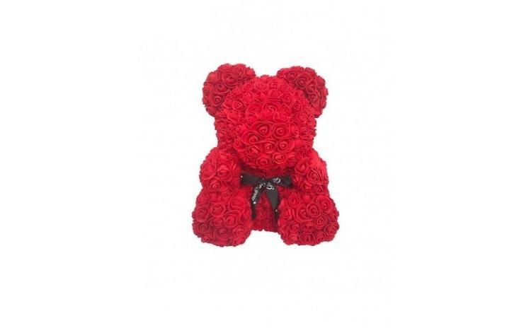 Ursulet din trandafiri, 40cm, rosu,