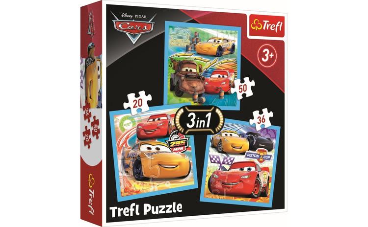 PUZZLE TREFL 3IN1 CARS PREGATIRI PENTRU
