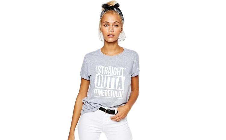 Tricou dama gri cu alb - Straight Outta Tineretului