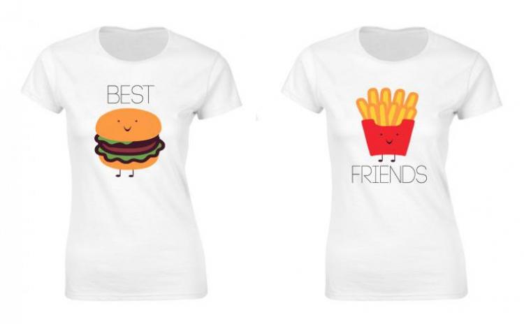 Set de tricouri pentru cele mai bune prietene Hamburger & Fries, la 99 RON in loc de 200 RON