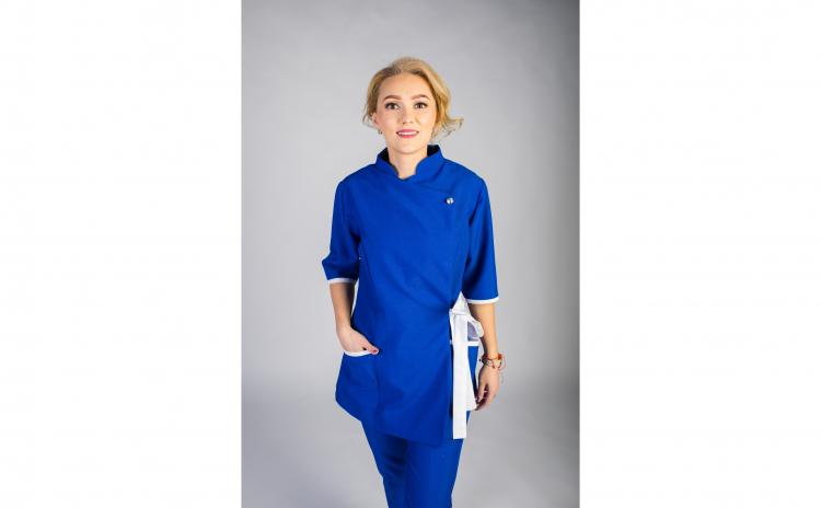 Sarafan Medical stil Kimono, albastru