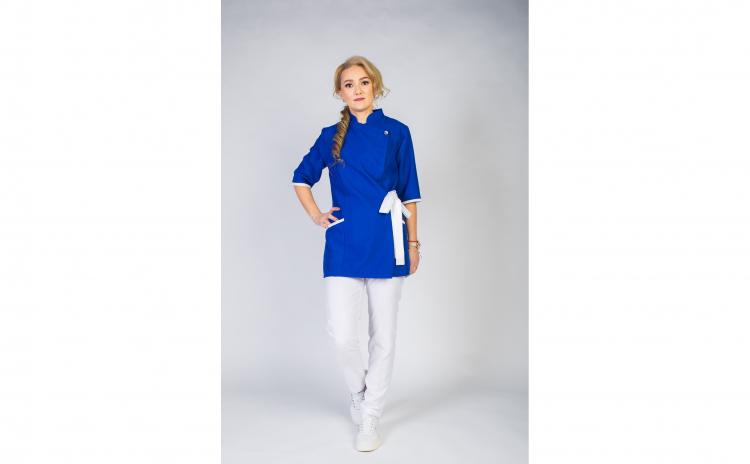 Sarafan Medical stil Kimono albastru-alb