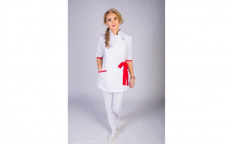 Sarafan Medical stil Kimono alb-rosu