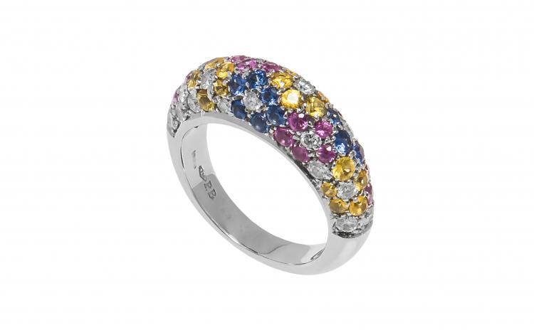 Inel din aur alb 18K cu safire colorate