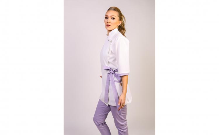 Sarafan medical stil Kimono alb-mov