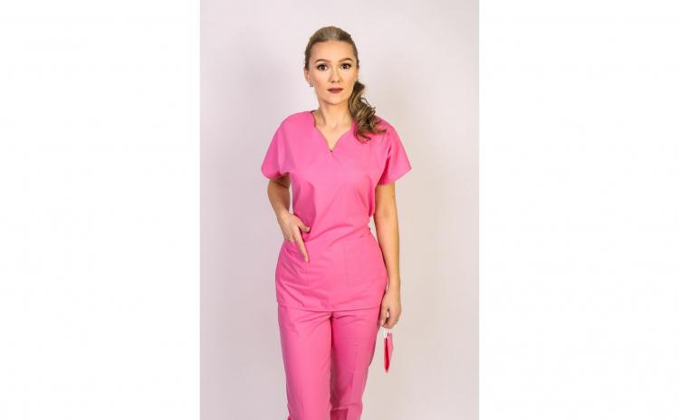 Costum medical dama, bluza, anchior, roz