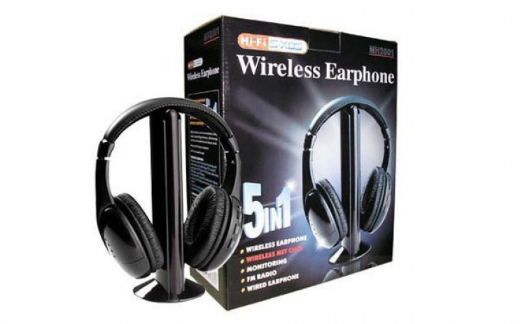 Casti wireless 5 in 1 cu microfon si radio FM incorporat pentru Mp3, DVD, Laptop, PC, la 48 RON in loc de 99 RON