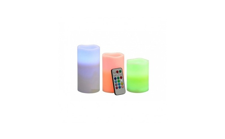 Set 3 lumanari LED ambientale, 12 culori