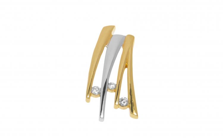 Pandantiv din aur 14K cu 3 diamante