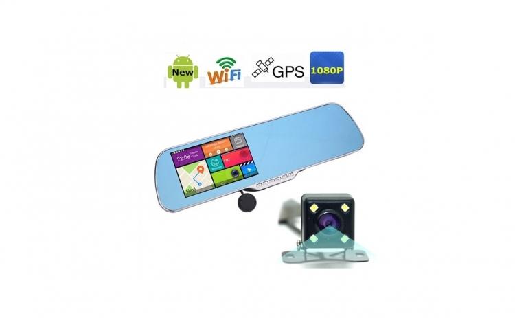 Camera Auto Dubla tip oglinda retrovizoare, cu GPS si multitouch, 5 MP