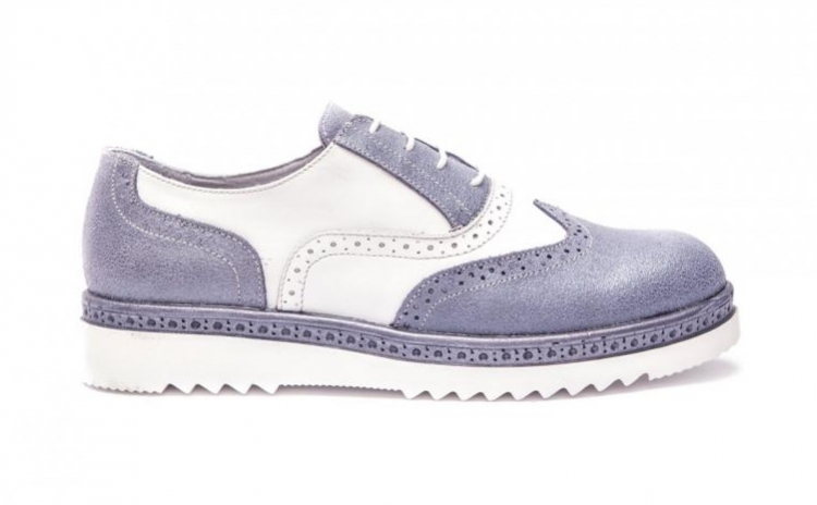 Pantofi Dama Oxford Albastri din piele