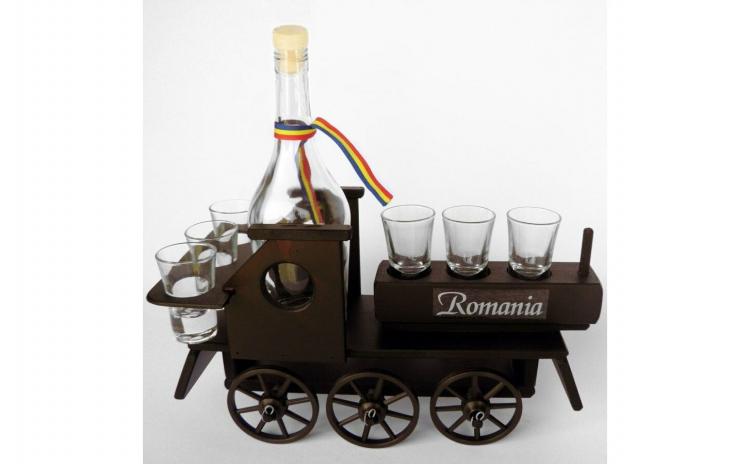 Minibar din lemn locomotiva cu 6 pahare