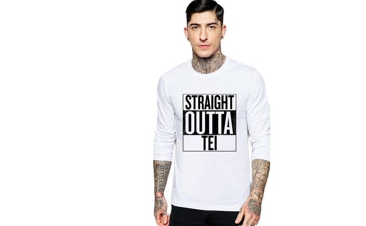 Bluza barbati alba - Straight Outta Tei