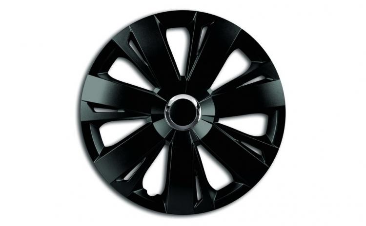Set capace roti 16` negre cu inel cromat