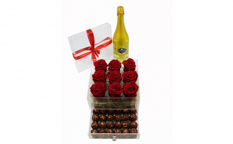 Cutie acril 9 trandafiri criogenati