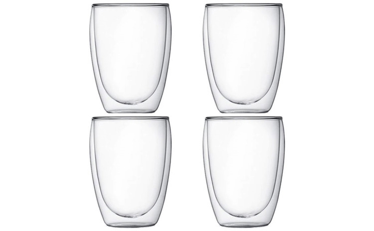 Set 4 pahare din sticla cu pereti dubli,