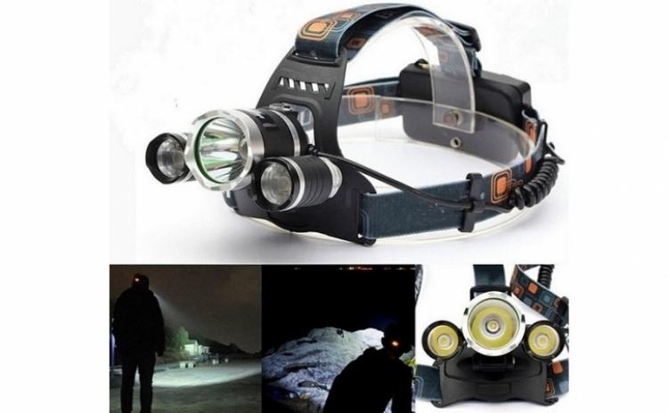 Lanterna frontala reglabila cu 3 LEDuri CREE XM-L T6, 5000 lumeni, 2 acumulatori reincarcabili si 2 incarcatoare