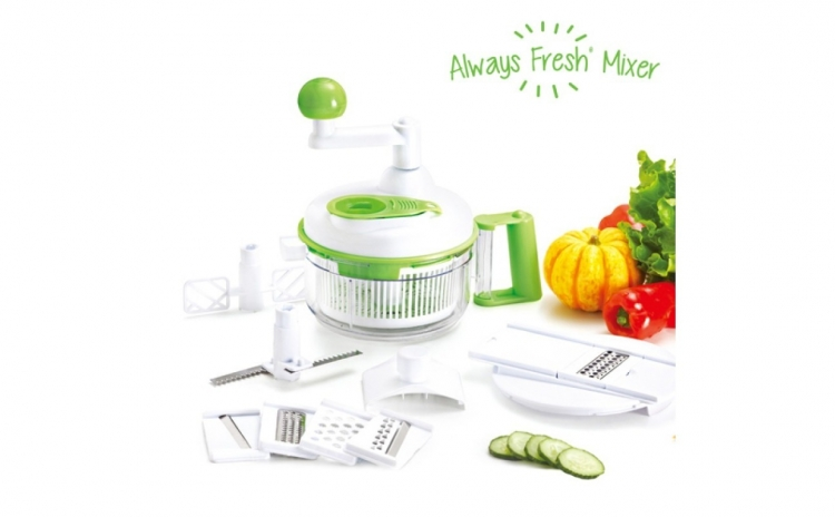 Aparat De Salata Multifunctional Always Fresh Mixer. Taie  Da Prin Razatoare  Toaca  Feliaza  Bate  Stoarce  Roteste Si Scurge Usor Si Confortabil. Redus La 82 Ron In Loc De 142 Ron