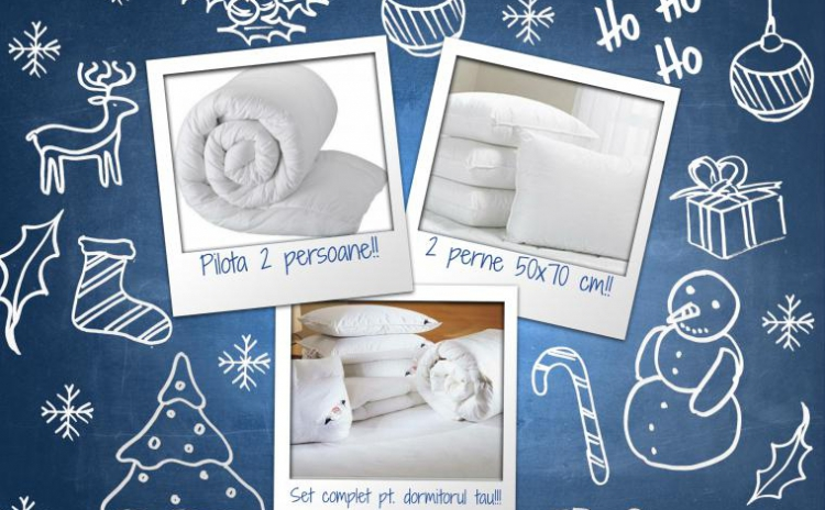 Set Complet Pentru Dormitorul Tau: Pilota Pentru 2 Persoane Cu Puf Siliconat + 2 Perne 50x70 Cm La Doar 149 Ron De La 440 Ron