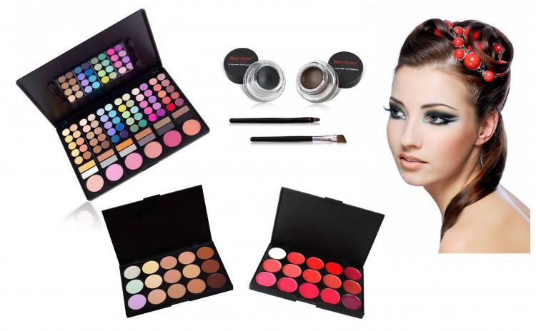 Set Machiaj Beauty Day & Night: Trusa 78 Farduri + Paleta 15 Concealer + Paleta 15 Rujuri + Eyeliner 2 Culori - 99 Ron Redus De La 319 Ron