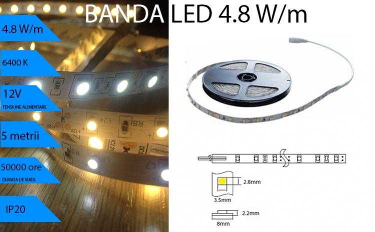 Banda Led 4.8w/m  Lumina Rece 6400k  Pentru Interi