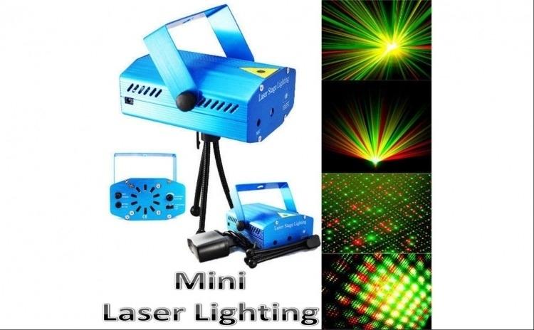 Mini proiector cu efect de artificii si stelute, senzor de sunet, laser stage, strobo, rosu si verde, trepied si ventilator