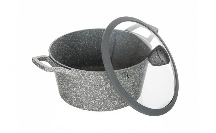 Oala aluminiu turnat, cu capac sticla