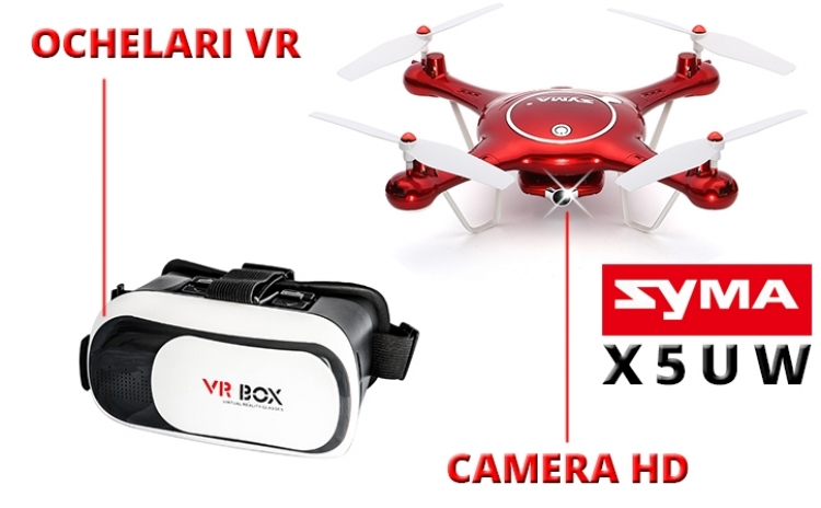 Drona Syma X5uw, Wifi, Camera Hd, Plan De Zbor, Mentinerea Altitudunii + Ochelari Vr Cadou. Vezi Video!