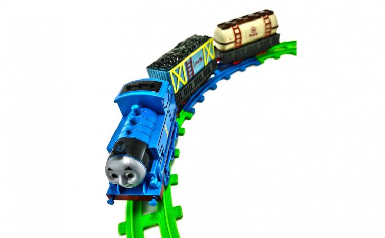 Trenulet electric albastru cu doua vagoa