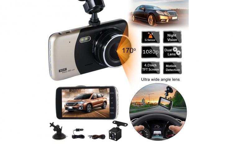 Imagine indisponibila pentru Camera auto dubla fata-spate DVR 1080p FULL HD, Display 4 inch, unghi de filmare 170?